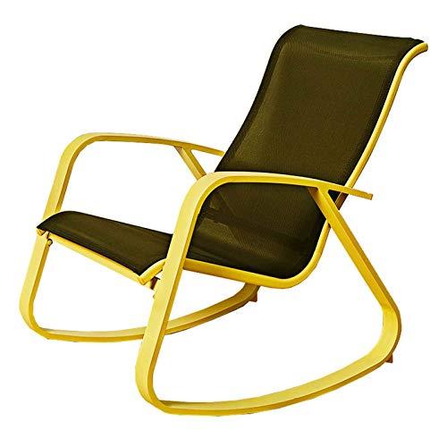 QWEA Confortevole Sedia a Dondolo Relax Sedia reclinabile in Rattan PE, mobili da Giardino sedie da Esterno Sedia con Struttura in Acciaio, per Interni Esterni Ufficio casa