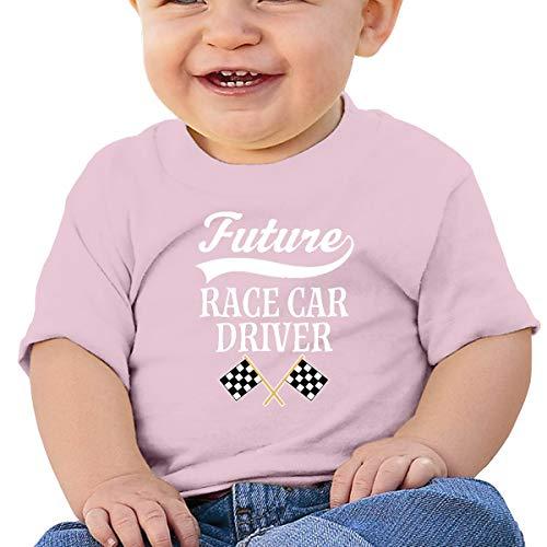 Huahai Child - Camiseta de manga corta para niño, diseño de coche de carreras, rosa, 2T
