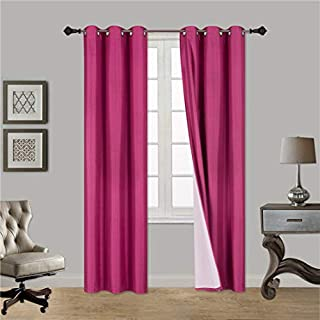 Gorgeous HomeDIFFERENT Solid Colors & Sizes (#34) 1 Panel Solid Thermal Foam Lined Blackout Heavy Thick Window Curtain Drapes Silver Grommets (HOT Pink, 108