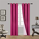 Gorgeous Home (#72) 2 Panels Solid HOT Pink 84' Long Thermal Foam Lined Blackout Heavy Thick Window Curtain Drapes Bronze Grommets