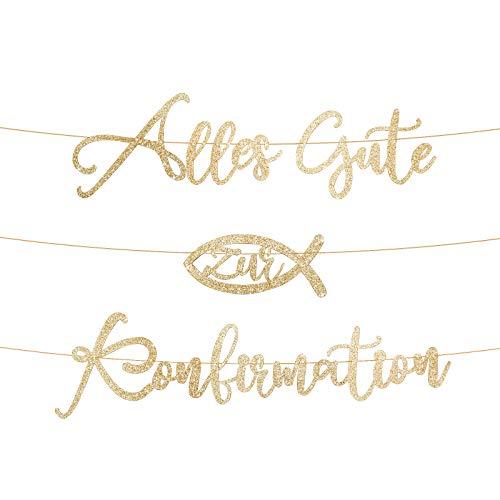 BETESSIN Alles Gute zur Konfirmation Girlande Dekoration Papier Taufe Mädchen Junge Deko Banner Kommunion Party (Gold)