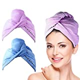 2 Pack Hair Towel Wrap Turban Microfiber Drying Bath Shower Head Towel with Buttons, Quick Dryer, Dry Hair Hat, Wrapped...