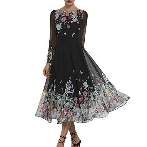 Vestido de Mujer, Vestido de Gasa Ajustado para Mujer con Bordado de Flores, Manga Larga, Dobladillo Grande, Vestido Negro para Vacaciones diarias
