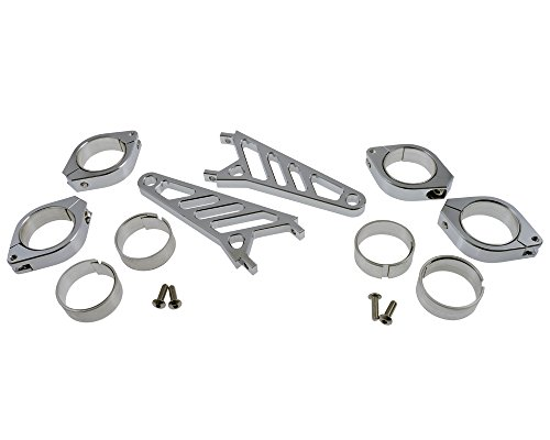 Lampenhalter Motorrad Highsider lang CNC Alu Set für 38-41 mm Gabel,Chrom