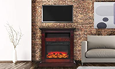 Cambridge CAM3437-1CHRLG2 Sienna 34 in. Electric Fireplace w/Enhanced Log Display and Cherry Mantel