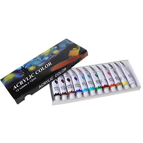 JHD Juego de Pintura acrílica de Tubo de 12 Colores de 12 ML, Herramientas de Dibujo de Pintura artística para niños, Resistente al Agua DIY
