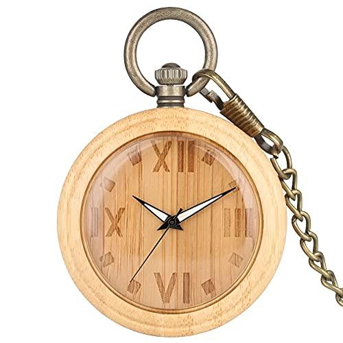yuyan Reloj de Bolsillo de Madera, Marcador de bambú Vintage Tallado Numeral árabe, Colgante de Cadena de suéter de Bronce, Mejor Regalo para papá, Profesor, Abuelo y Amigos (Color : B)
