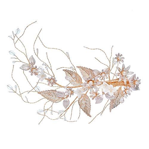 Clip de par de perlas hecho a mano accesorios de boda personalizados de alta gama tocado de novia horquilla-KC clip rubio grande
