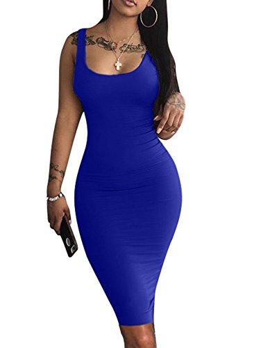 LAGSHIAN Women's Sexy Bodycon Tank Dress Sleeveless Basic Midi Club Dresses Royal Blue 2 Piece Blue Dress