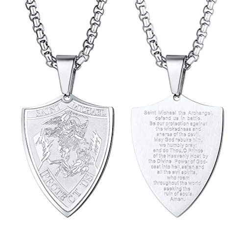 PROSTEEL St. Michael The Archangel and Prayer Mens Dog Tag Necklace