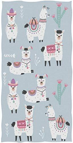 Lindo Dibujo Animado Llama Alpaca Patrón Infantil Suave Absorbente Toallas de Mano Grandes Multiusos para baño, Hotel, Gimnasio y SPA Floral