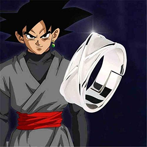 Yvonnezhang Dragon Ball Z Time Ring Black Goku Combat Props Dark Gogeta Cosplay Modelo Anillo de Juguete Ajustable