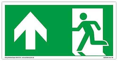 Schild Notausgang | extra langnachleuchtend | PVC selbstklebend 297x148mm | gemäß ASR A1.3 DIN 7010 DIN 67510 | Notausgangsschild Links aufwärts geradeaus | Fluchtweg Rettungsweg | Dreifke® extra 160