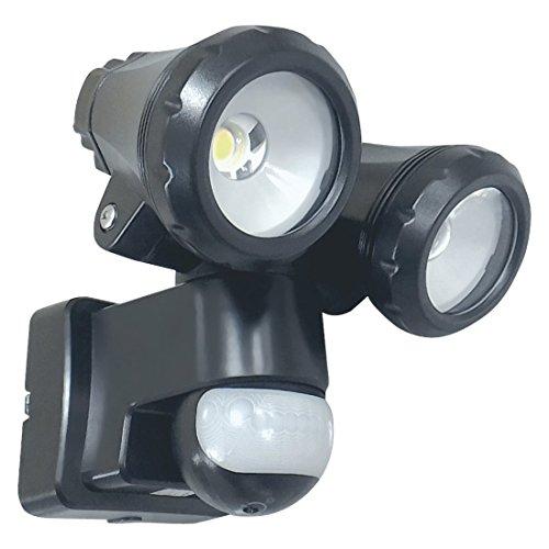 ELRO LT3510P Außenleuchte mit 2 LED-Schwenkköpfen - mit Bewegungsmelder - Reichweite bis zu 12 m und 180° Erfassungswinkel - 2 x 10W - 1550LM - Schwarz - 15 x 19 x 19 cm