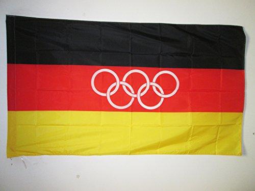 AZ FLAG Bandera de la Equipo ALEMÁN UNIFICADO EN LOS Juegos OLÍMPICOS 1960-1968 150x90cm para Palo - Bandera Alemana HISTORICA 90 x 150 cm
