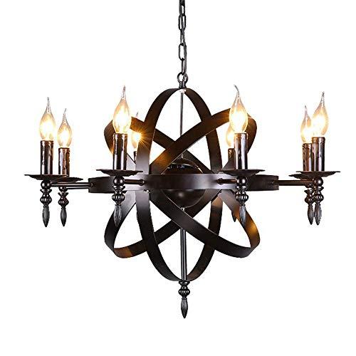 SEESEE.U LJJY Kronleuchter im europäischen Schlossstil Mittelalterlicher Anhänger runde Kerze Schmiedeeisen Kronleuchter 8 Lampe geeignet für Wohnzimmer Korridor Schlafzimmer Deckenleuchte