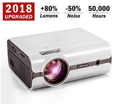 Crenova XPE496 Projector – 2200 Lumens (+80%) Home Projector – Portable Video Projector – Compatible with PC/Mac/TV/DVD/iPhone/iPad/USB/SD/AV/HDMI for Home Theater/Outdoor/Video Games