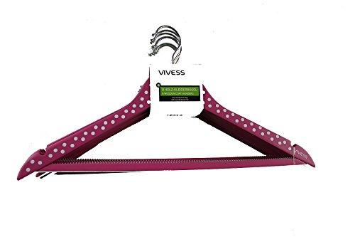 Emanhu Trading 8-er Pack Set Holz-Kleiderbügel Kleiderbügel ca. 45 cm Pink