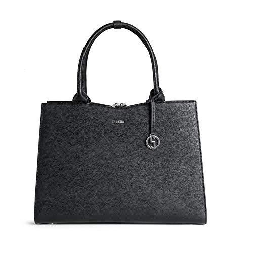 SOCHA SO-Straight-LINE-Black Designer Business Tasche für Damen, 39,11 cm (15,6 Zoll) schwarz