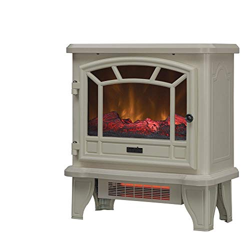 Duraflame Electric Fireplace Stove 1500 Watt Infrared Heater with Flickering Flame Effects - Cream Heater Infrared Space