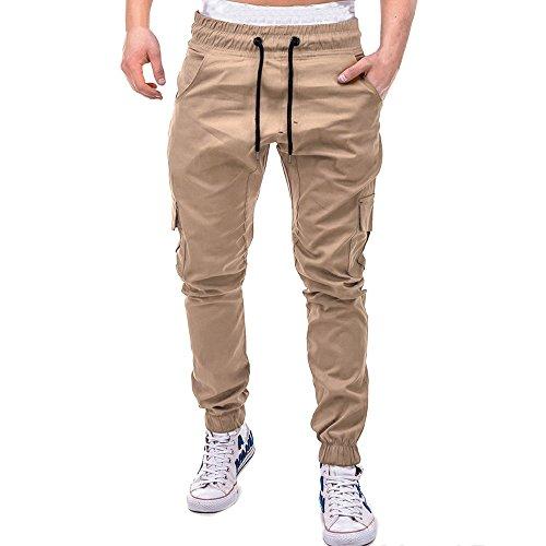 BBsmile Moda Pantalones Hombre Vaquero Pitillo Camuflaje Deporte Color Puro Vendaje Casual Pantalones Hombre Trabajo Bolsillos Pantalones de chándal Sueltos Pantalon de Lazo
