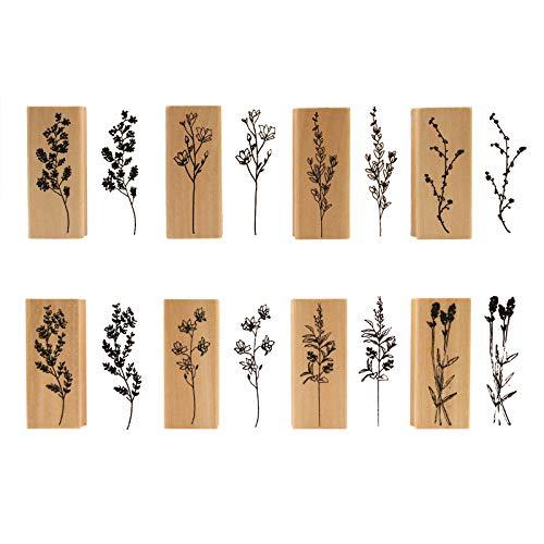 Hölzern Stempel Set, NogaMoga 8 Stück Stempel aus Holz Natürlicher Blumen Motive, Natur-Stil Dekorative Stempel für die Herstellung von Karten, Kunsthandwerk, Geschenken und DIY Scrapbooking