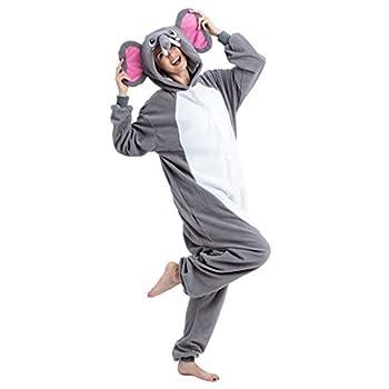 Spooktacular Creations Unisex Adult Pajama Plush Onesie One Piece Elephant Animal Costume  Large  Grey