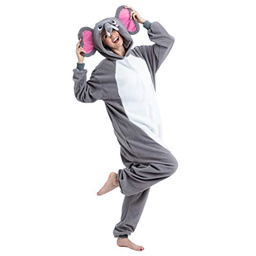 Spooktacular Creations Unisex Adult Pajama Plush Onesie One Piece Elephant Animal Costume (Large) Grey