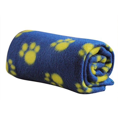 Bodhi2000® Haustierdecke, warm, Fleece, Pfotenabdruckmotiv, für Katzen, Hunde, Welpen