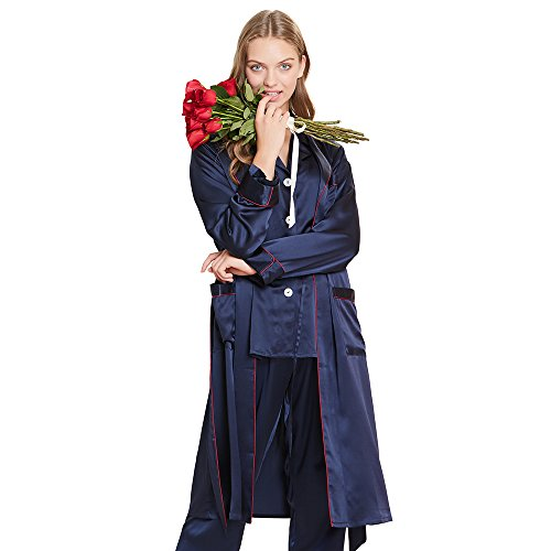 LilySilk Women's Silk Pajamas & Robe Set with Contrast Trim 3pcs Sleepwear Pure Natural Mulberry 22 Momme Collar Navy Blue S