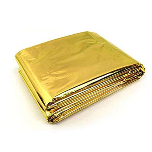 10 Stück Rettungsdecke - Extra Groß - 210x160 cm - Wasserfest - Mylar Überleben Folie Decke Erwärmung Für Camping, Wandern, Erste Hilfe - Gold & Grau