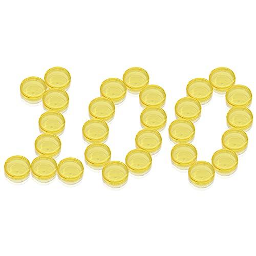 PUDSIRN 100 Uds 5G macetas de Muestra, recipientes cosméticos Redondos vacíos con Tapa, Recipiente de plástico, tarros para cremas, bálsamo Labial (Amarillo)