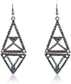 BOHO Bohemian Earrings Geometric Rhombus Pendant Creative Pyramid Earrings
