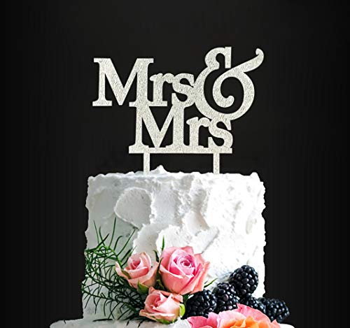 Silver Glitter Mrs & Mrs Cake Topper- Same Sex Wedding Cake Topper Lesbian Wedding Engagement Cake Topper(SILVER)