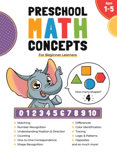 Compare Textbook Prices for Preschool Math Concepts For Beginner Learners: Workbook with Addition, Subtraction, Fractions, Telling Time, Number Tracing and Matching Activities ... 2, 3, 4 and 5 year olds and kindergarten prep  ISBN 9781735398310 by Palace, Printing   Publishing