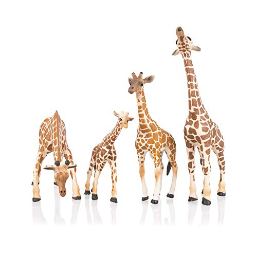 TOYMANY 4PCS Realistic Giraffe Figurines with Giraffe Cub  2-7  Plastic Jungle Animals Figures Family Playset Includes Baby  Educational Toy Cake Toppers Christmas Birthday Gift for Kids Toddlers