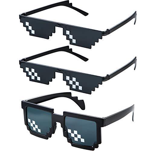 3 Pares Gafas de Sol de Píxel de Matón Indiferente de Plástico Accesprios de Fiesta para Niños Adultos, Negro (Píxel Pequeño de Una Fila, Píxel Pequeño de Doble Fila, Píxel Grande de Doble Fila)