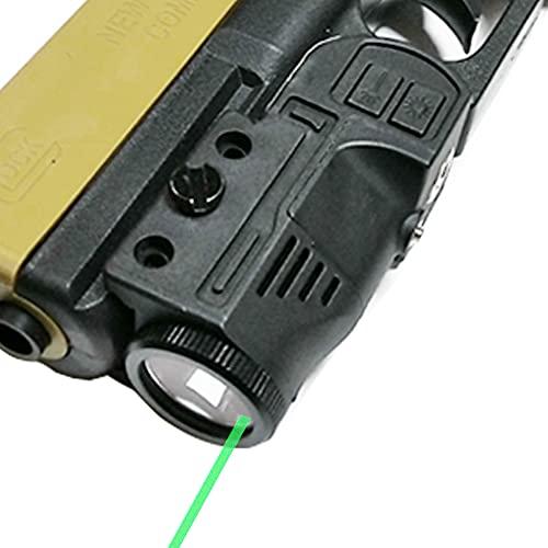 Flashlight Green Laser Combo, 220 lumens Flashlight Gun Laser Sight Fit Standard Picatinny Rail with Strobe Function Magnetic Charging for Handgun Airsoft Rifle
