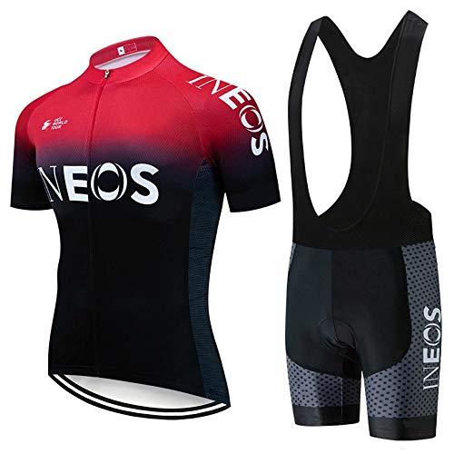 STEPANZU Abbigliamento Ciclismo Uomo Set Maglia MTB Estivo Maniche Corte e Pantaloncini Imbottiti in Gel Traspirante Completo Ciclismo Squadre