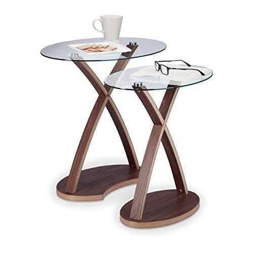 Relaxdays Beistelltisch Glas oval, 2er Set Glastische, Holzbeine, Satztische klein, modernes Design, 2 Größen, natur