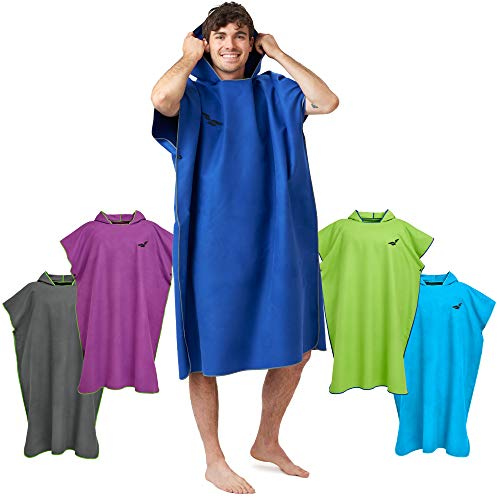 Fit-Flip Umziehhilfe Strand, Surf Poncho, Strandumkleide Handtuch Robe, Badeponcho, Umkleide Poncho – Größe L, dunkelblau/grau