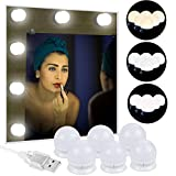 Anpro 6 Ampoules Lumière de Miroir 3 Couleurs Lumineuse- Blanc Froid,Nature,Chaud Lumière LED Dimmable Alimentée Par Un Câble...