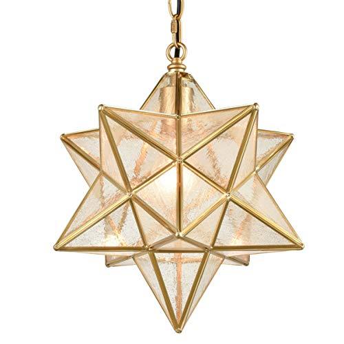 Dazhuan Brass Moravian Star Pendant Lighting Seeded Glass Pendant Lights 13 1/2 inches