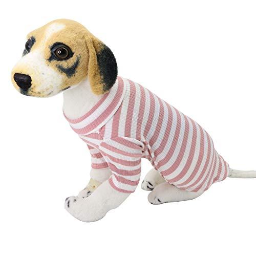 YAODHAOD - Maglione a maglia per cani, per animali domestici, comodo per primavera, autunno, sottile, per cani di piccola taglia, gatti e cuccioli (strisce rosa, XL)