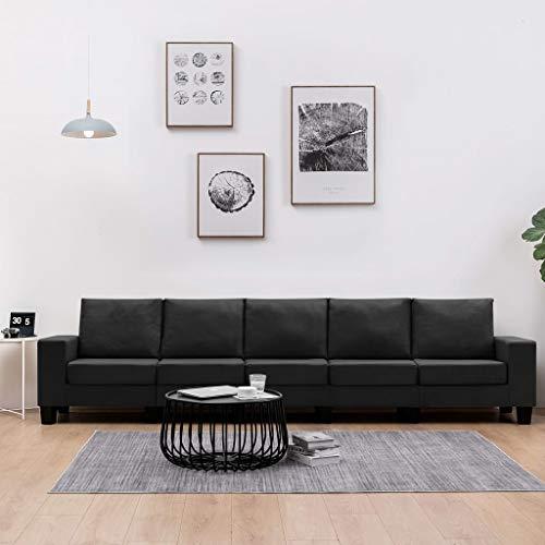 UnfadeMemory Sofá de Salon,Sillón Sofá,Decoración de Hogar Habitación o Oficina,Tapicería de Tela (Negro, 5 plazas-310x70x75cm)