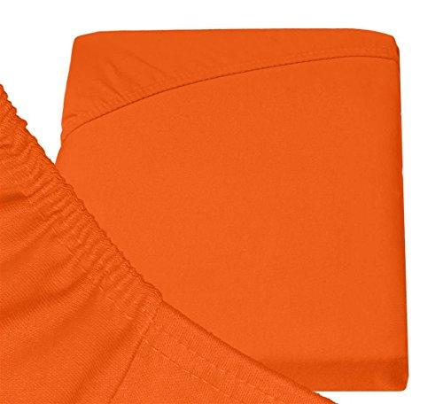 Double Jersey – Spannbettlaken 100% Baumwolle Jersey-Stretch bettlaken, Ultra Weich und Bügelfrei mit bis zu 30cm Stehghöhe, 160x200x30 Orange - 6