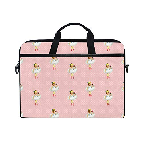 EZIOLY Ballerina Cartoon Ballet Dancer Girl Pink Laptop Shoulder Messenger Bag Case Sleeve for 13 Inch to 14 inch Laptop