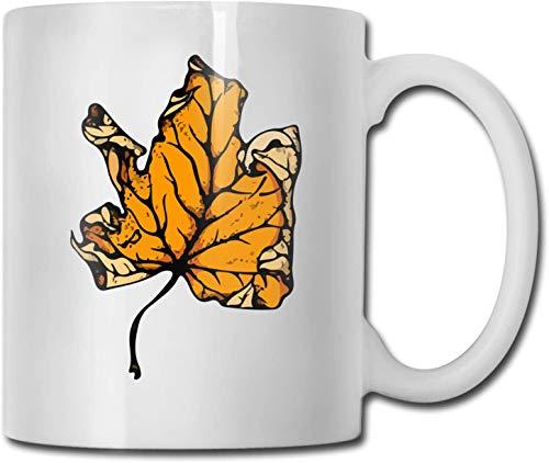 Hojas de arce otoñales brillantes Taza de café blanca de cerámica única Taza de té para la oficina Diversión en el hogar Regalo novedoso Taza de bebida divertida de 11 oz para hombres y mujeres