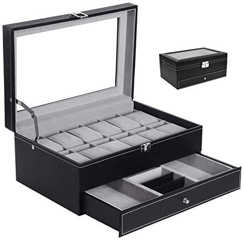 Hossjoy Uhrenbox Schmuckkästchen für 12 Uhren Glas, Schwarz, Mit Schlüssel