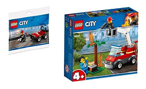Steinchenwelt Lego City - Juego de 2 cochecitos de bomberos 30361 + 60212 para barbacoas